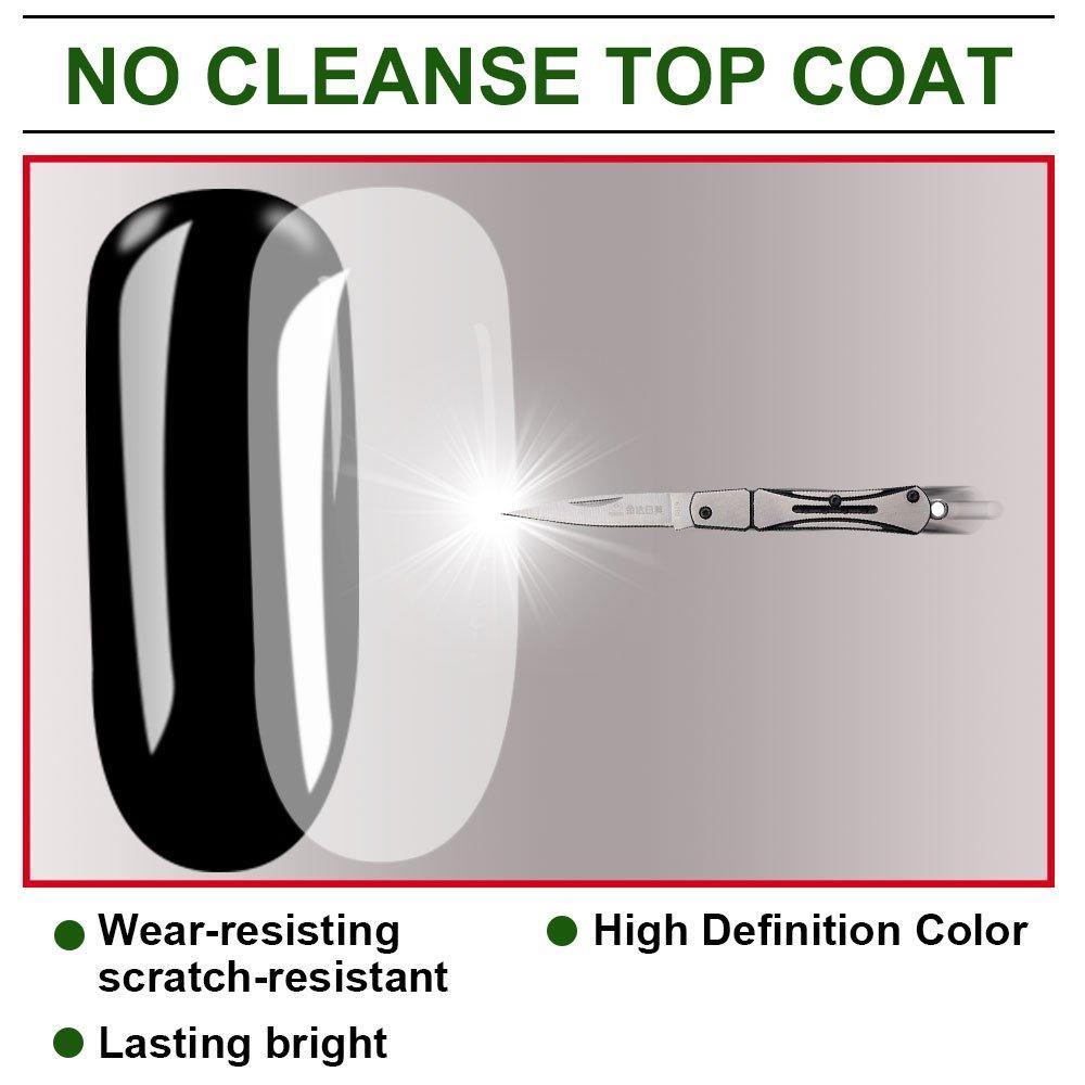 Quick Soak Off Super Shine Steeless No Cleanse Top Coat Gel Polish