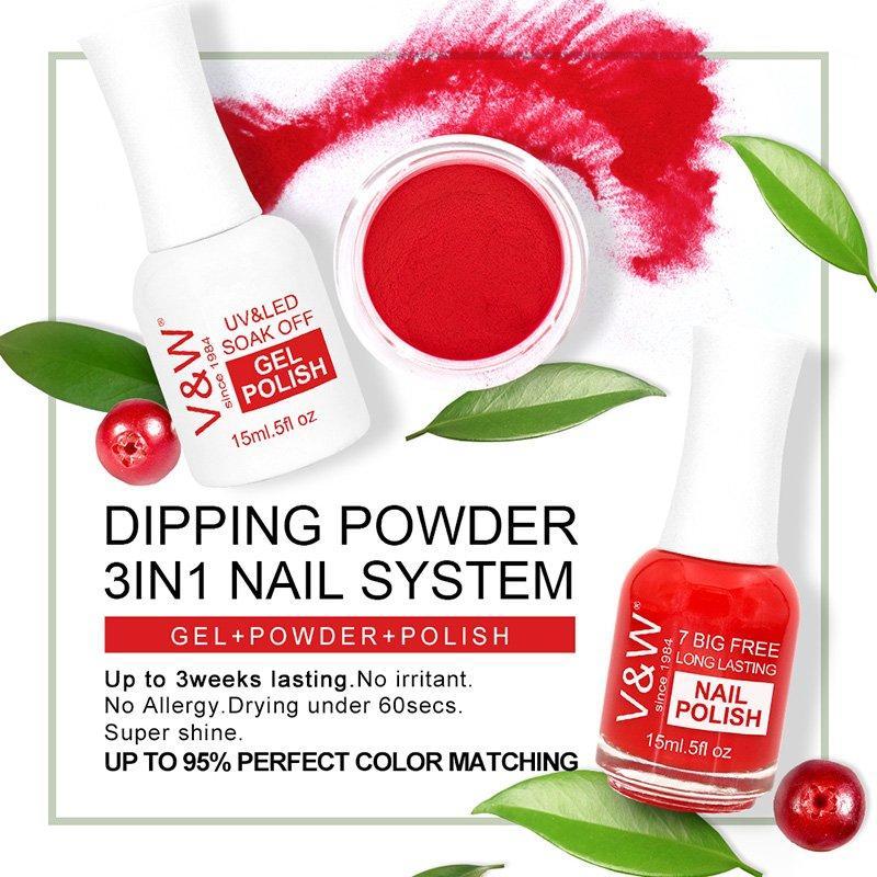 3 in 1 Color Matching Dip Powder System Art Nail Polish and Gel Polish
