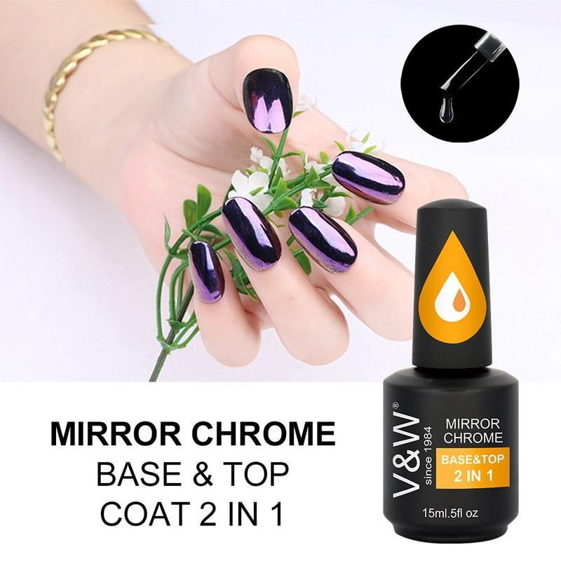 Mirror Chrome Glitter Pigment Base & Top 2in1 gel polish