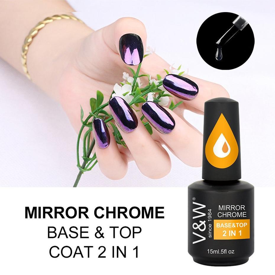 V&W Gel Polish Mirror Chrome Glitter Pigment Base & Top 2in1 gel polish info