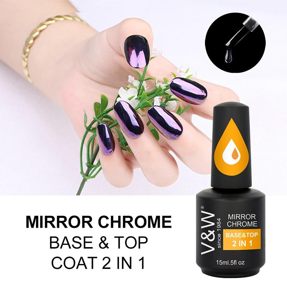 Mirror Chrome Glitter Pigment Base & Top 2in1 gel polish