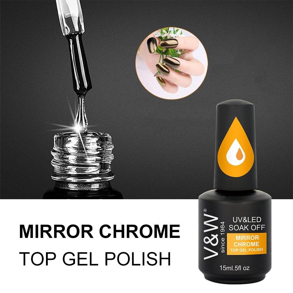 Mirror Chrome Glitter Pigment Top Gel Polish