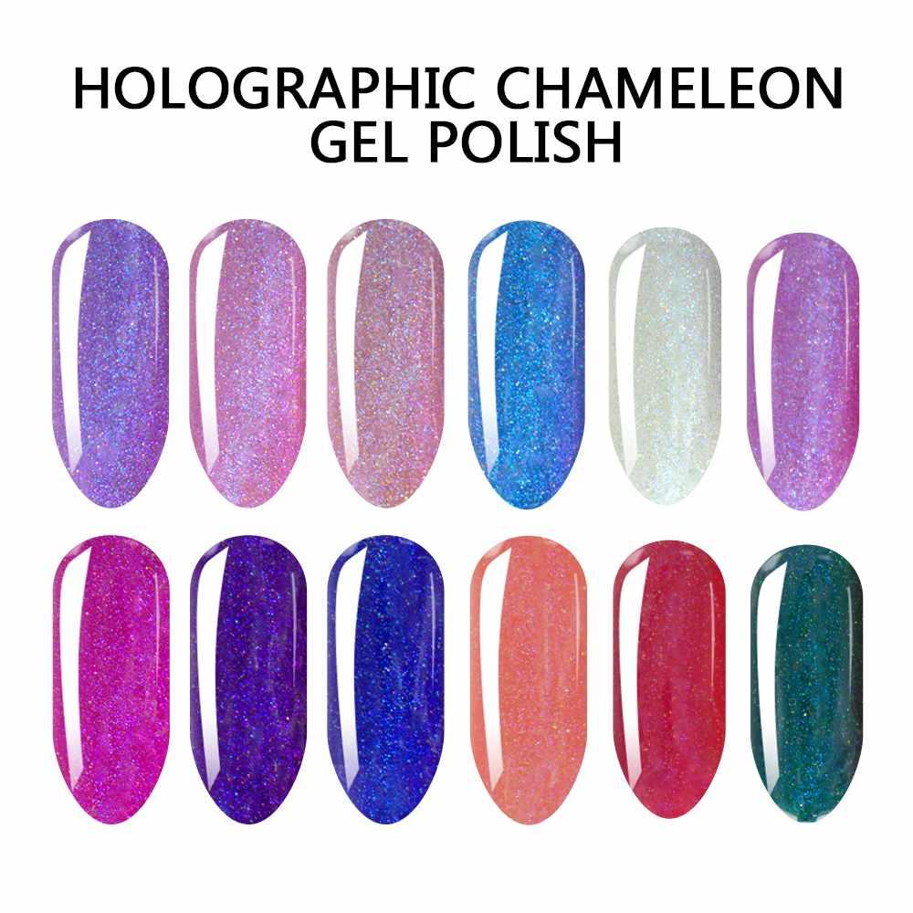 VW-Soak Off UV LED 15ml Holo Holographic Chameleon Color Gel Nail Polish