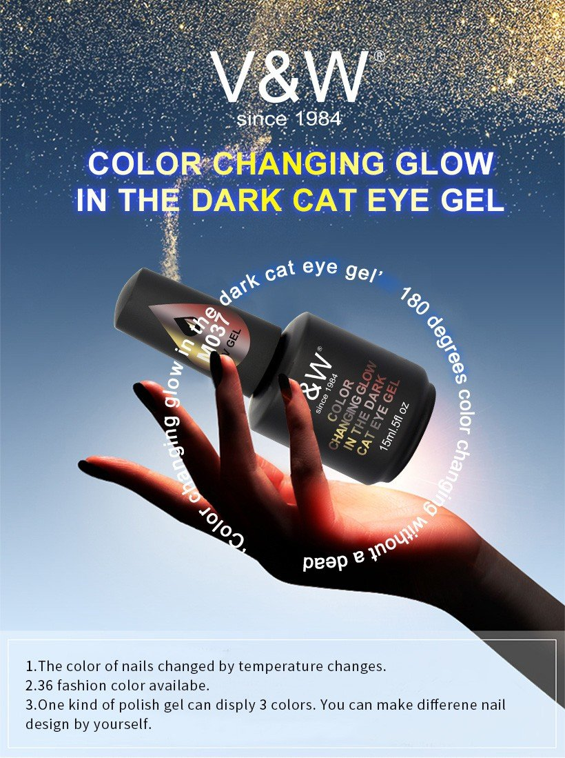 VW-Professional Gel Polish Wholesale Color Changing Glow In The Dark Cat Eye
