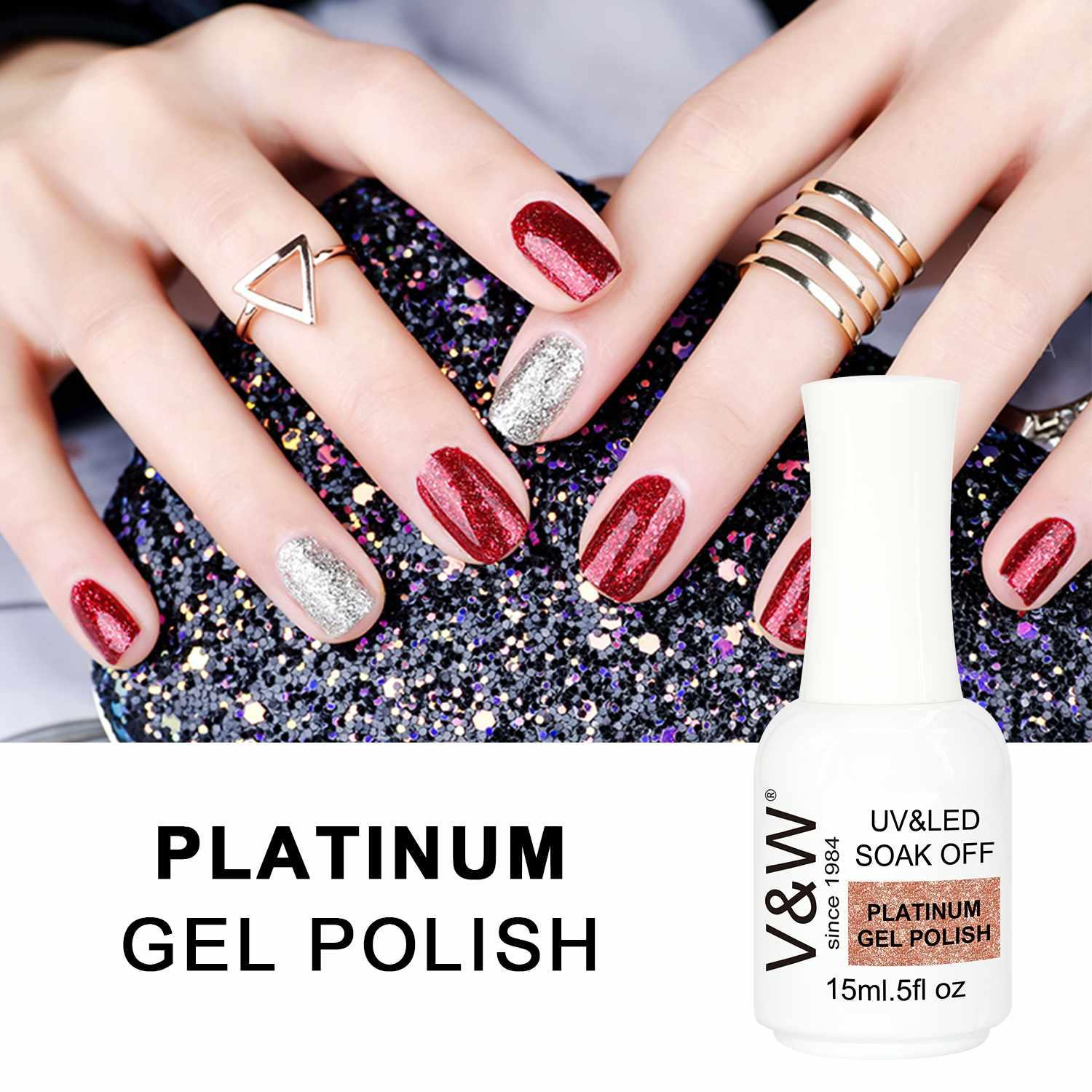 Super Color Gel Paints Crystal Lacquer Nail Art Glitter Pearl Diamonds Soak off UV LED Platinum Gel Nail Polish