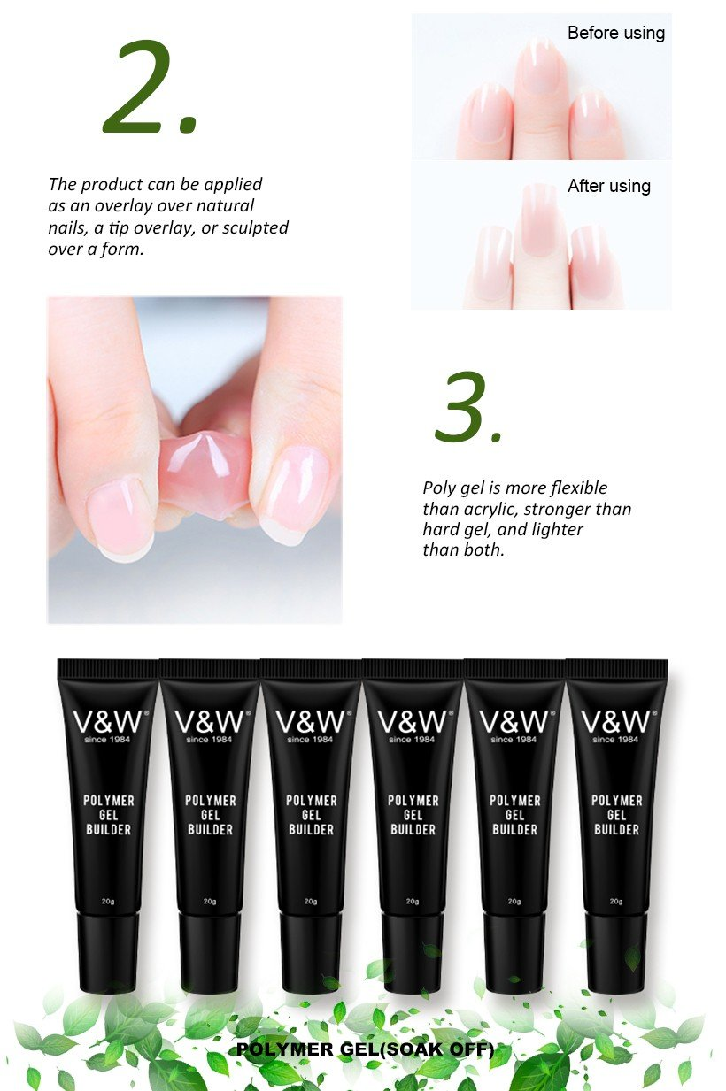 VW-Soak Off 30ml Clear Nail Uv Led Poly Gel Builder Gel Acrylic Polymer Gel-4