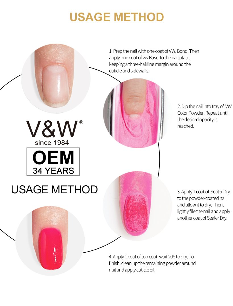 VW odorless solar nail powder colors smoothly for party-9
