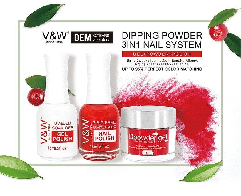 VW-3 In 1 Color Matching Dip Powder System Art Nail Polish And Gel Polish-1