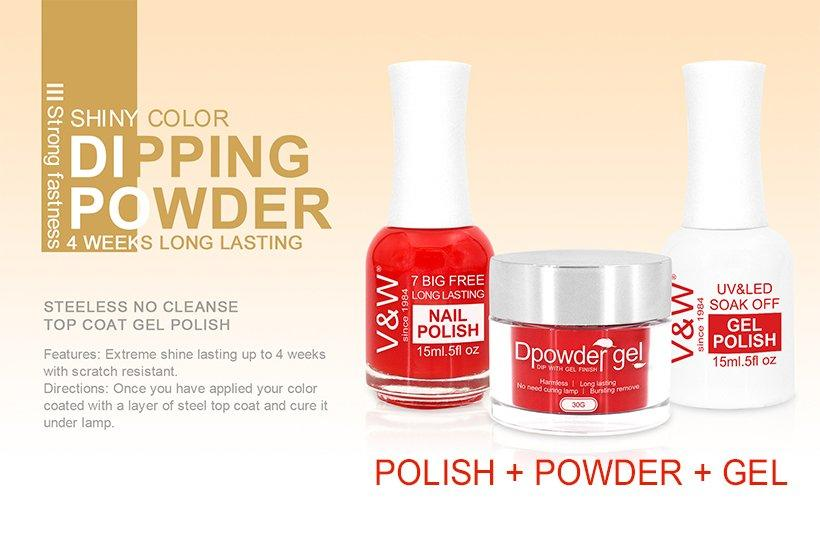 VW-3 In 1 Color Matching Dip Powder System Art Nail Polish And Gel Polish