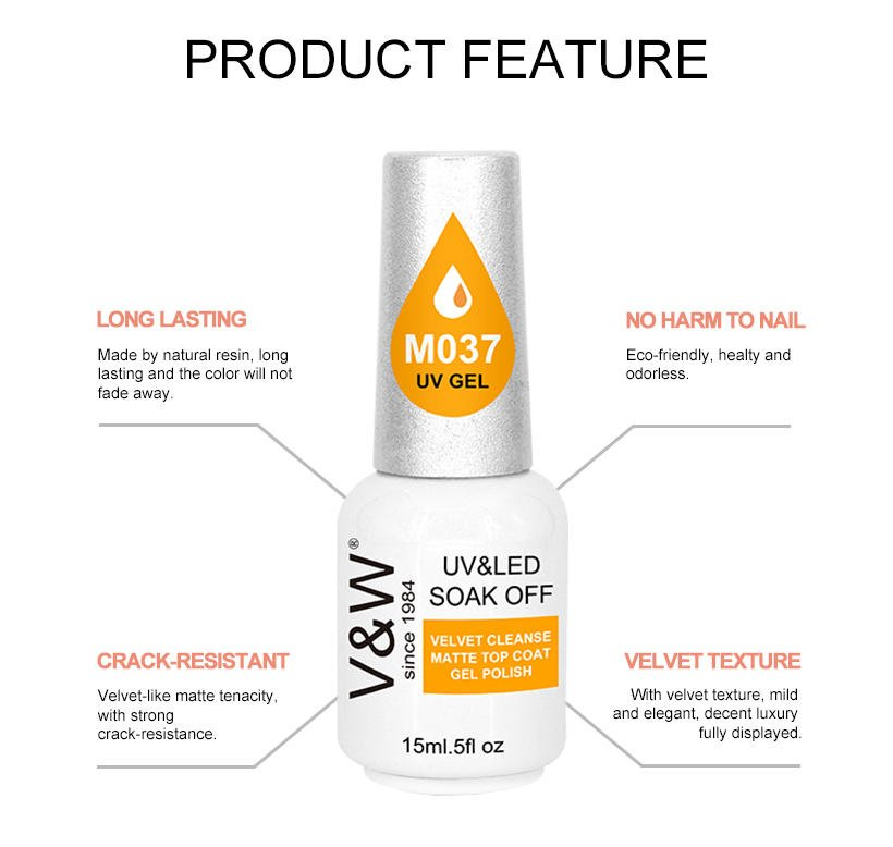 VW-Best Velvet Cleanse Matte Top Coat Uv Led Gel Polish For Nail Art Designs-2