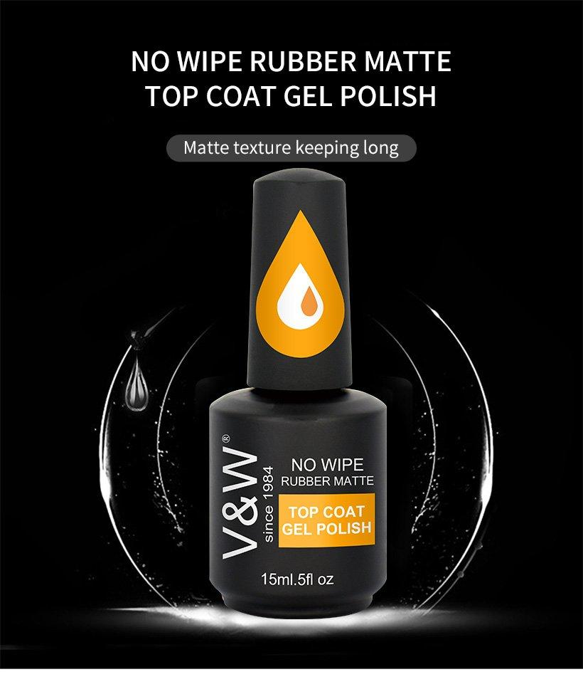 VW-No Wipe Rubber Matte Top Coat Gel Polish | Uv Gel Nail Salon Factory