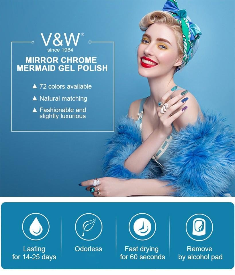 VW-Find Metal Mermaid Gel Polish Starry Glitter Nail Lacquer Mirror Chrome-1