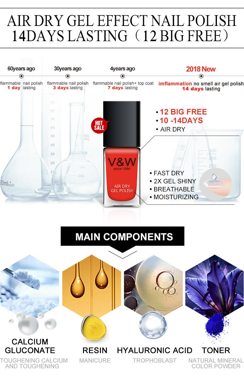 VW-Best Non Toxic Healthy Fast Drying Air Dry Effect Nail Polish 14 Days Lasting-1